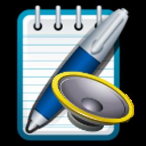 Icono de MessageTTS que representa un bolígrafo y un altavoz sobre un bloc de notas.