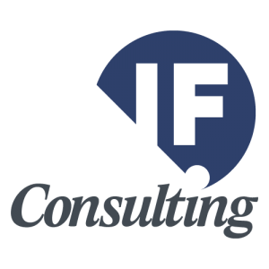 Logo identificativo de IFConsulting basado en caracteres con fondo azul